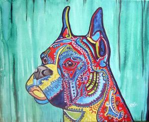 Custom Commissioned Funky Dog Portraits Available